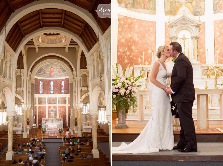 Beautiful church wedding at the St. Mary Star of Sea in the summer in Beverly.