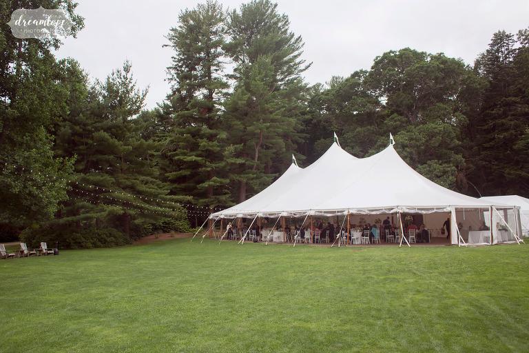 The Moraine Farm estate tented reception in the green lawn.