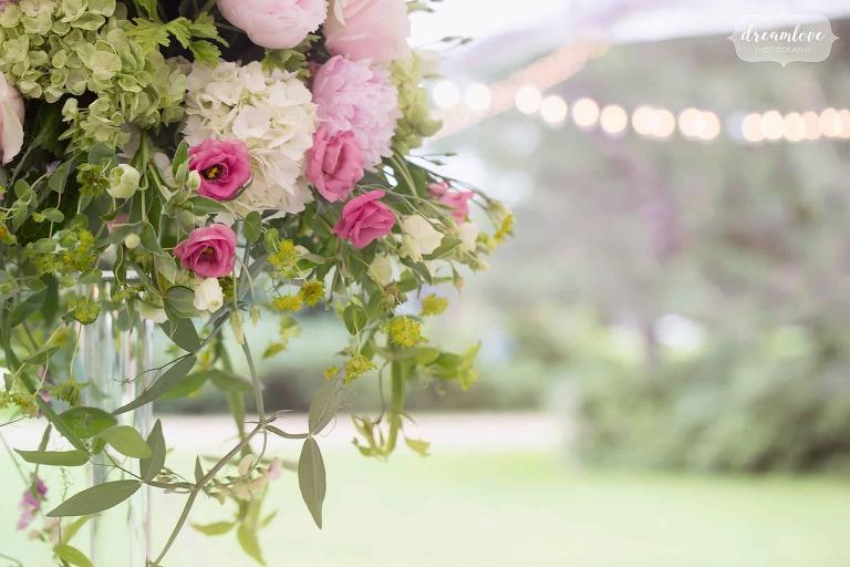 High flower wedding centerpieces at the Moraine Farm Estate.