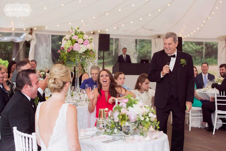 The father of the bride gives a funny toast at the Moraine Farm Wedding estate in MA.