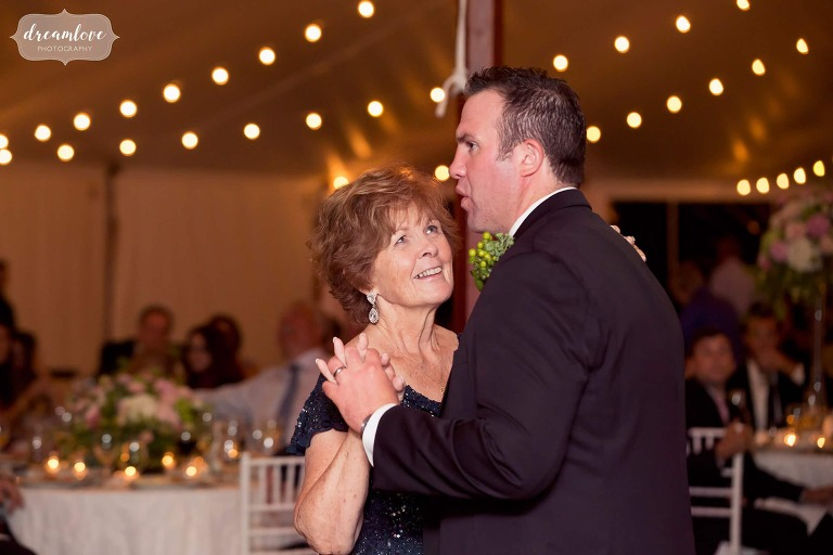 Mother son dance at the Moraine Farm.