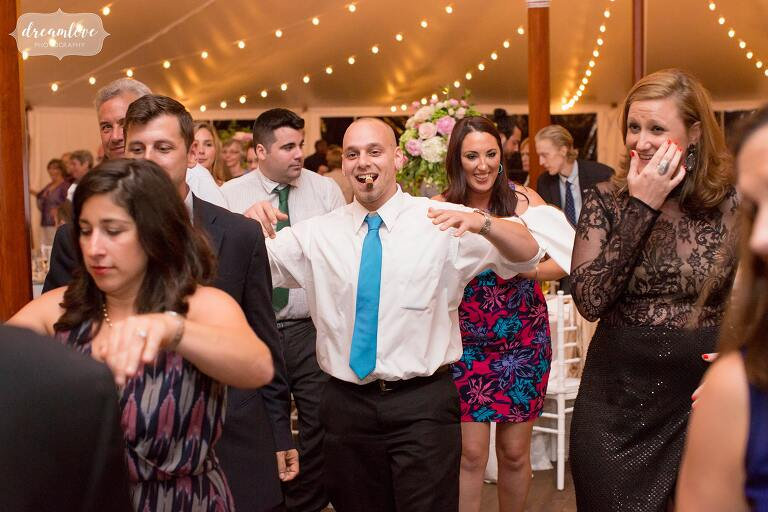 Guests make their way to the dance floor at Moraine Farm.