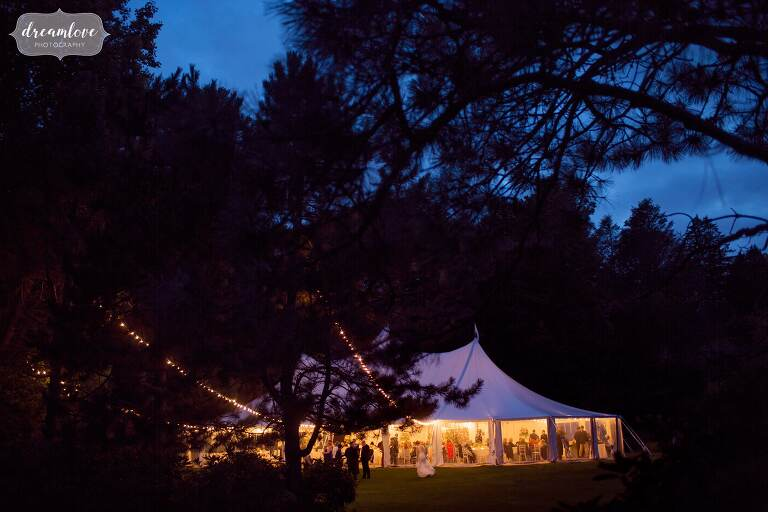 Beautiful garden wedding venue at the Moraine Farm Estate on the north shore of MA at dusk.