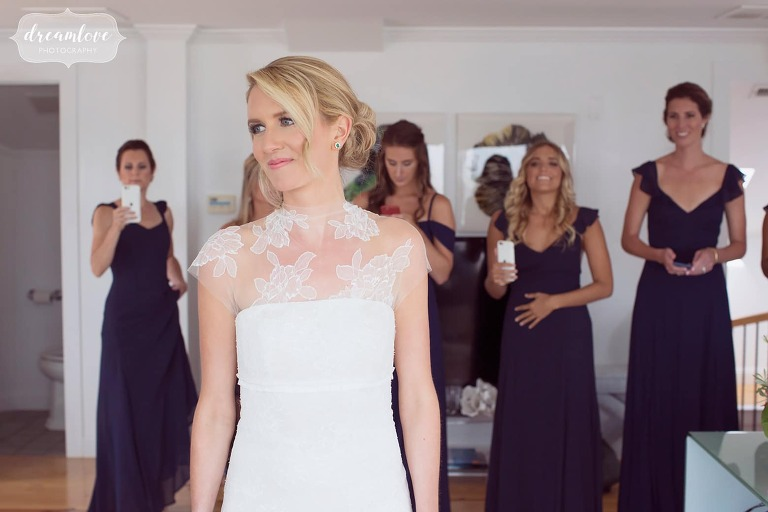 Bride gets ready for the day in Vera Wang dress at Blue in Newburyport, MA.