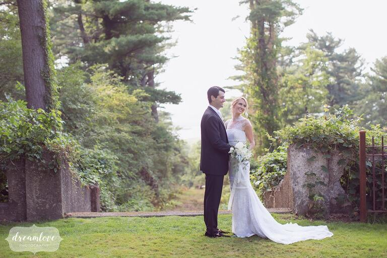 Romantic wedding photography of the bride and groom at the Crane Estate Italian Garden.