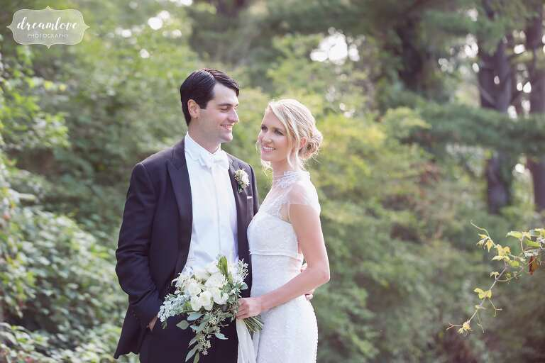 Ethereal wedding photography of the bride and groom at the epic Crane Estate wedding venue in Ipswich, MA.