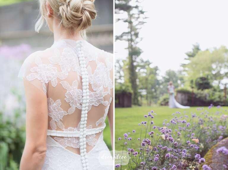 Bride wearing a high lace collar Vera Wang dress at the Crane Estate.