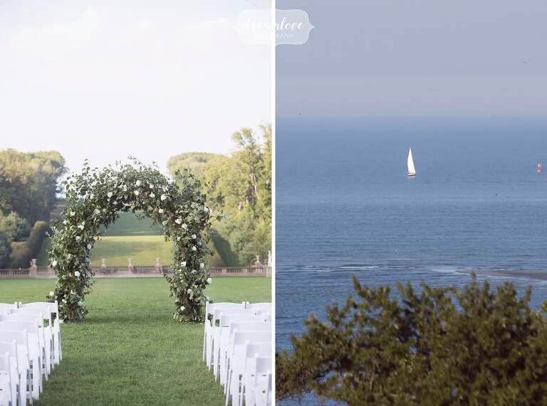 Simple outdoor wedding ceremony with a flower arbor at the Crane Estate overlooking the ocean.
