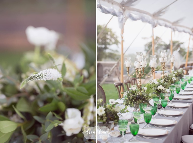 Vintage green glassware is used during dinner at the Crane Estate.