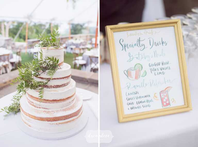 A naked wedding cake with green ferns at the Crane Estate wedding reception, paired with a watercolor painting of specialty drinks for the night.