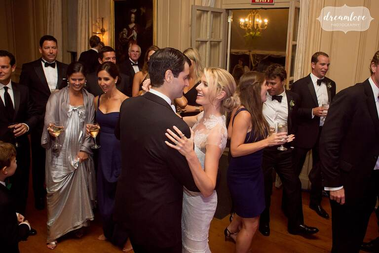 Bride and groom dance to Soul City band at the Crane Estate.