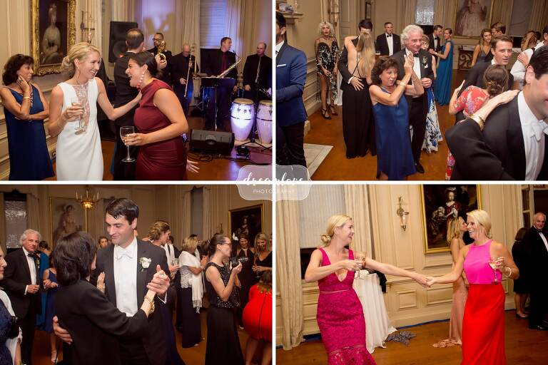 Wedding guests dance during the ceremony reception at the Crane Estate.
