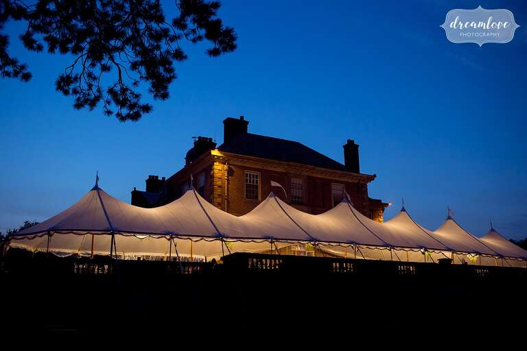 Blue light during twilight at the Crane Estate with a tented reception.