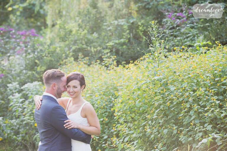 Artistic wedding photography in nature in the backyard for a Manchester by the Sea wedding in MA.
