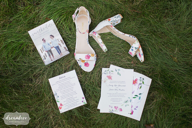 Floral wedding shoes and watercolor invitations for Manchester by the Sea wedding.