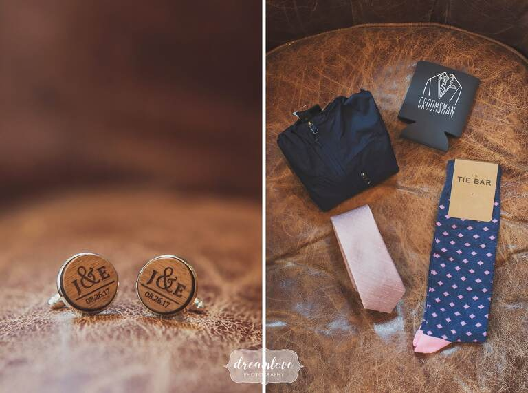 Wooden cufflinks and hipster wedding koozy for groomsmen at this coastal wedding on the north shore.