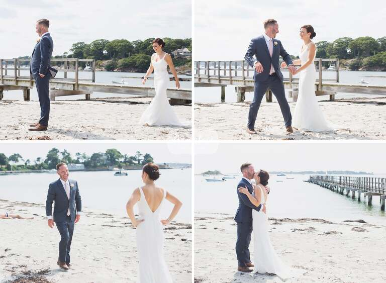 The bride and groom have their first look on Singing Beach in Manchester by the Sea, Ma.