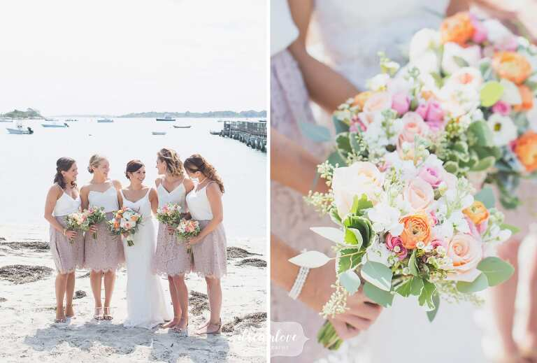 The bridesmaids pose on the beach in their BHLDN mauve lace skirts and cream silk tops.