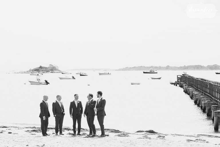 Groomsmen on Singing Beach for a backyard Manchester by the Sea wedding.