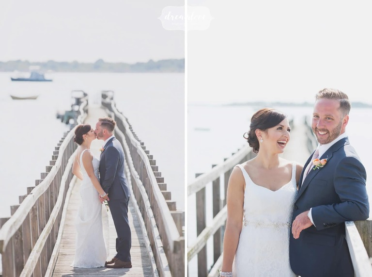 Bride and groom pose on the pier near Singing Beach in MA.