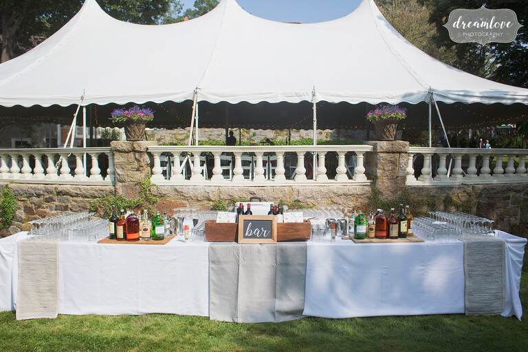 Sailcloth backyard wedding reception tent in Manchester by the Sea.