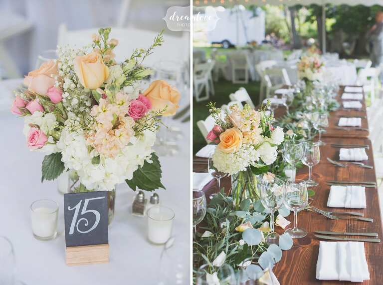 Floral and chalkboard table decor at harvest wood tables in Manchester by the Sea.