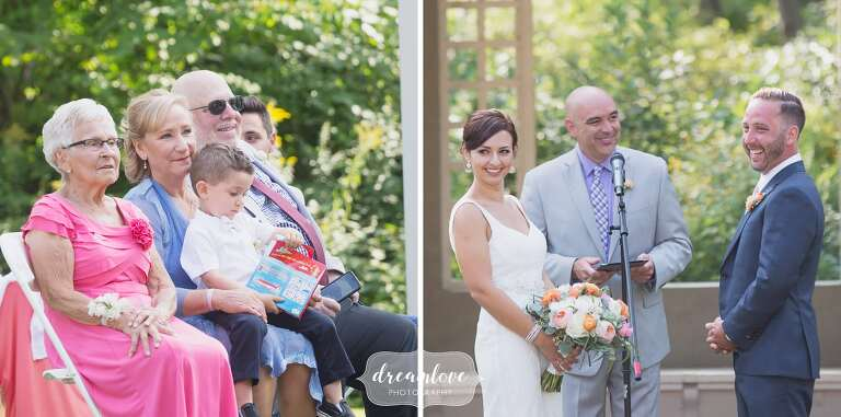 Candid Wedding Photography Of Guests Watching Ceremony In Manchester Ma