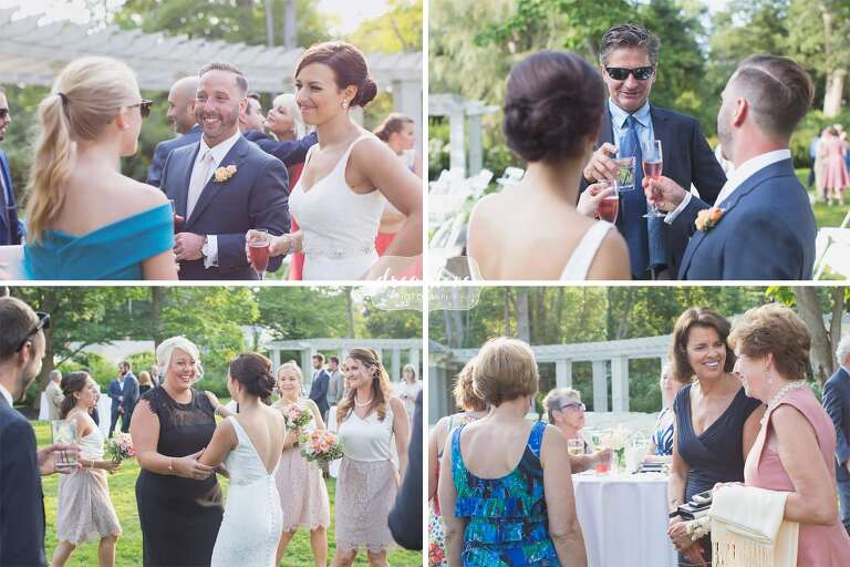Wedding Guests Enjoy Tail Hour Outside At Manchester By The Sea In Ma