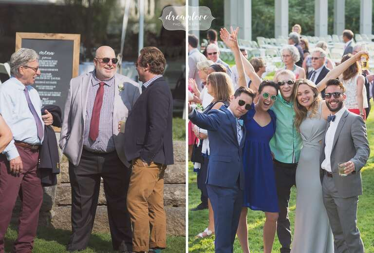 Fun wedding photography of guests in Manchester, MA.