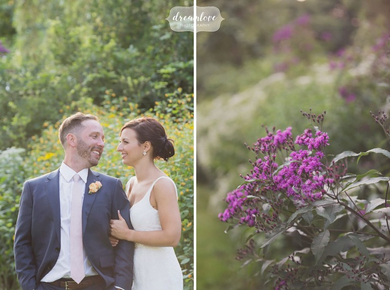 Nature wedding photography of bride and groom in a field in Manchester by the Sea.