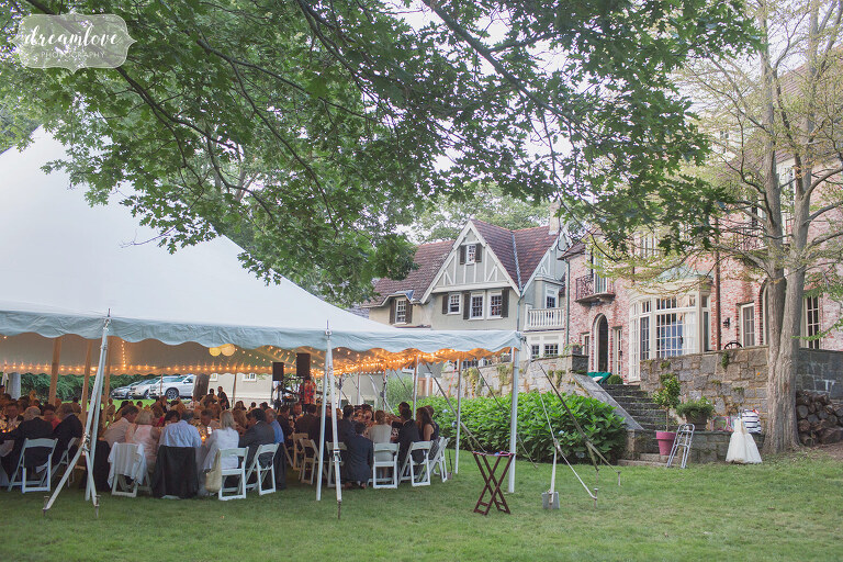 Backyard wedding at a mansion in Manchester-by-the-Sea, MA.