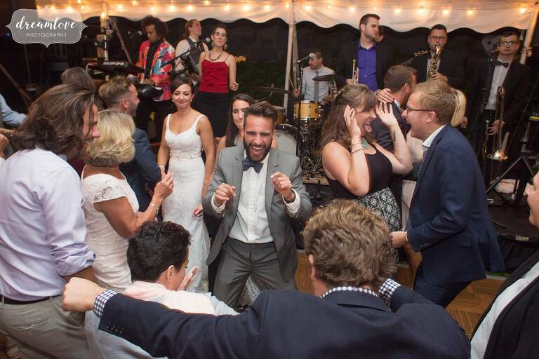 Funny dancers at this manchester by the sea wedding.