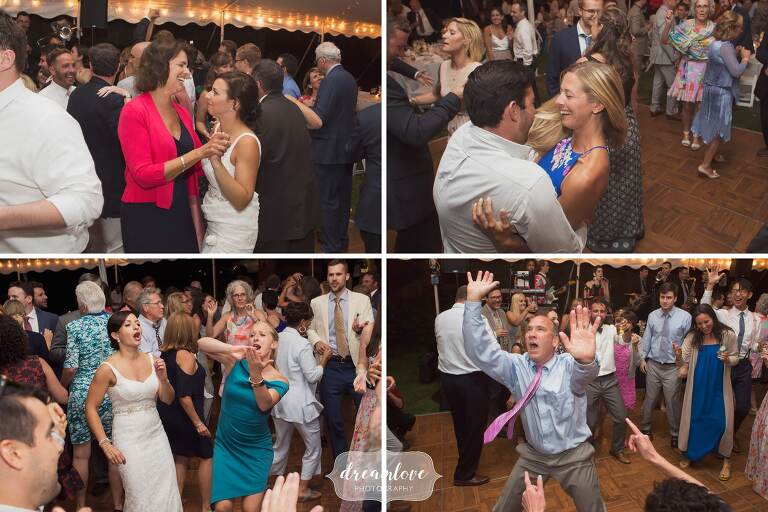Documentary wedding photography of guests dancing at Manchester, MA wedding.