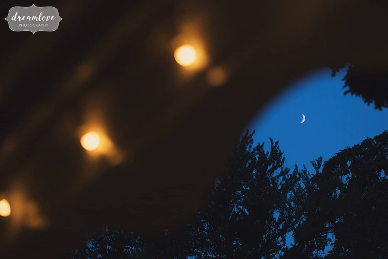 Artistic wedding photography of the moon in Manchester by the Sea.