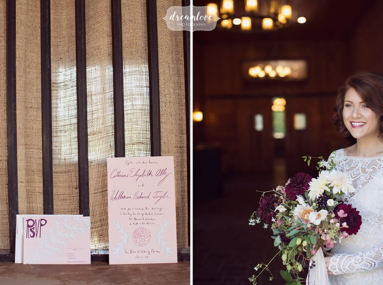 Fashion wedding photography of the bride looking out a barn door at the Liberty Farms venue in Ghent.