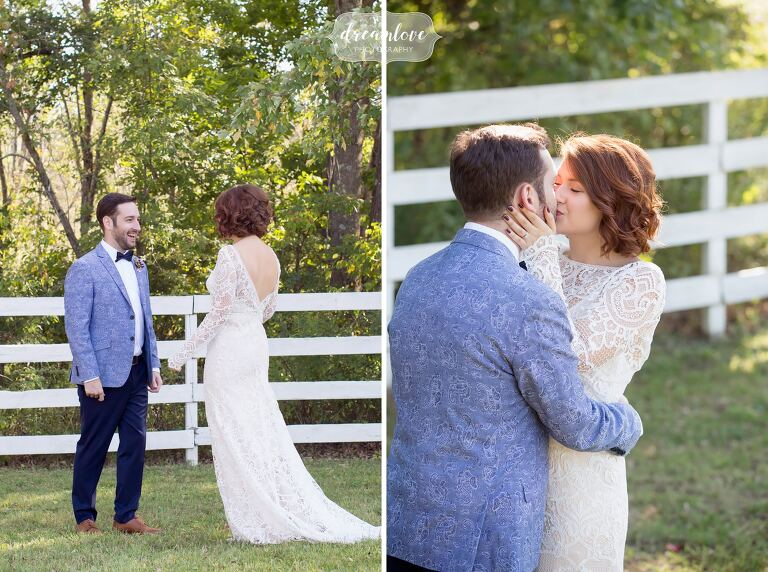 Emotional moments of the bride and groom seeing each other for the first time on the wedding day.
