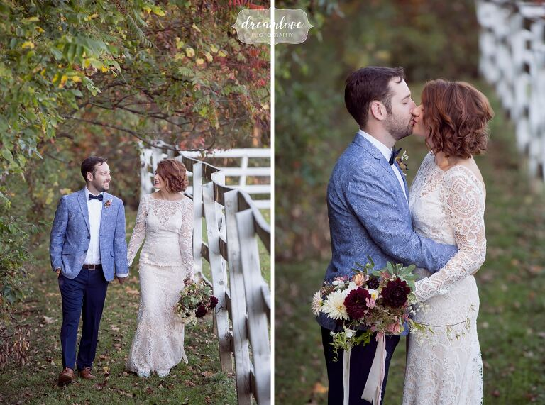 Bridal portrait ideas of the couple walking hand in hand at this horse barn wedding venue in the Hudson Valley.