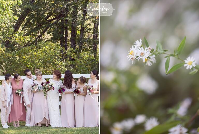 Nature style wedding photos at the Barn at Liberty Farm with the bridesmaids in pastel pink dresses.
