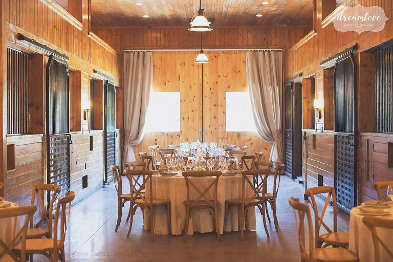A converted horse barn has been turned into rustic luxury wedding venue at the Barn at Liberty Farms near Hudson, NY.
