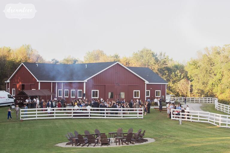 Fire roasted catering gets dinner on the grill at this Liberty Farms wedding in the Hudson Valley.