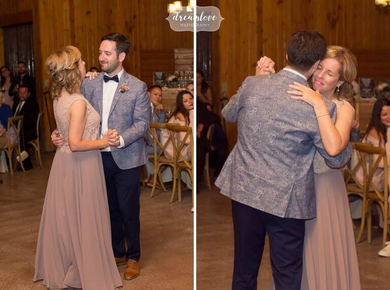 The mother and son dance at this Barn at Liberty Farms wedding in Hudson Valley.