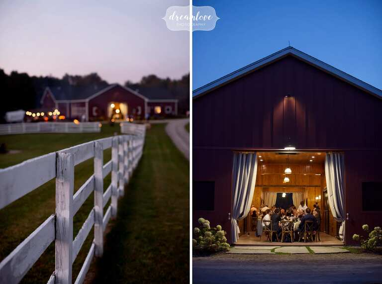 Beautiful wedding venue at dusk in Ghent, NY at the converted horse barn.