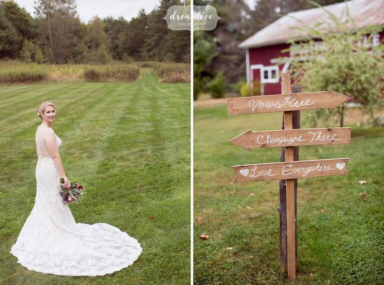 Wooden wedding signs point to where things are happening on the wedding day at the Bishop Farm.
