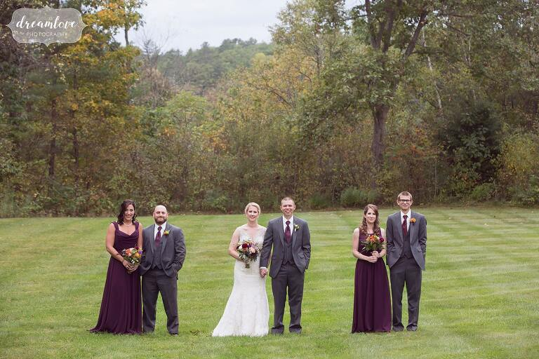 Great idea for a modern wedding party portrait in the field at Bishop Farm.