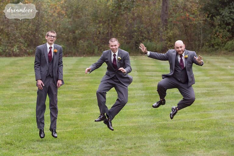 The groomsmen do an Irish jig and jump in the air clicking heels together at Bishop Farm.