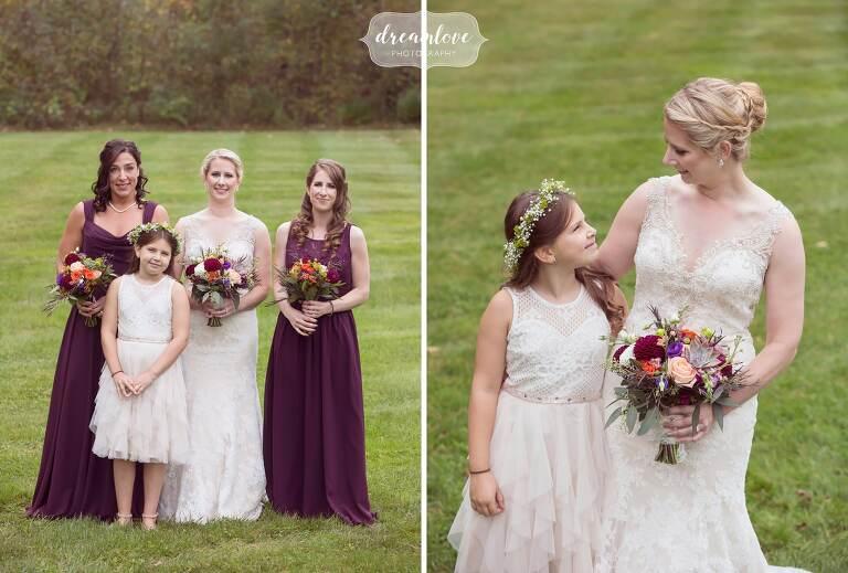Girls of the wedding pose at the Bishop Farm.