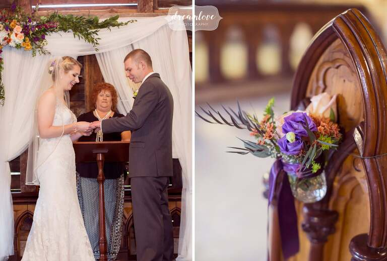 Fall wedding flowers are hung from benches for an indoor ceremony at the Bishop Farm.