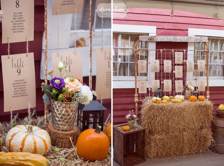 I love these pumpkins and hay bales with fall flowers for a September wedding at Bishop Farm in NH.