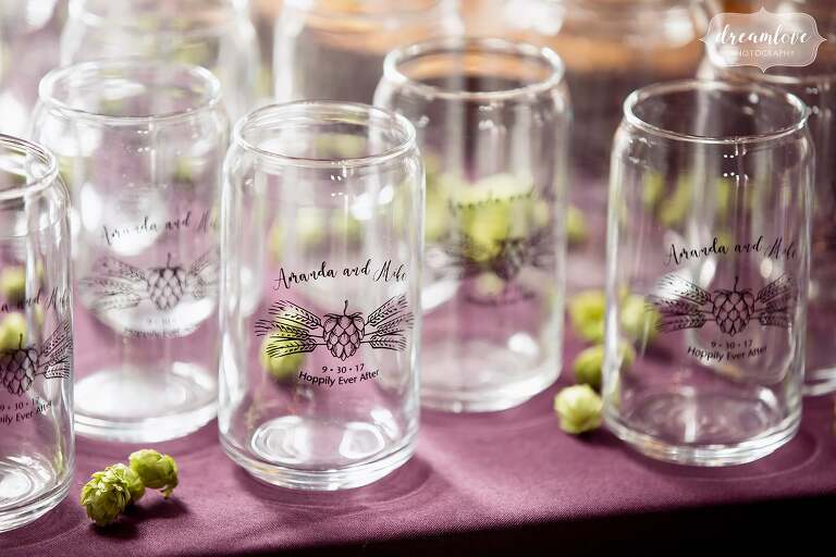 This beer themed wedding had dried hops and custom glasses as gifts at Bishop Farm in NH.