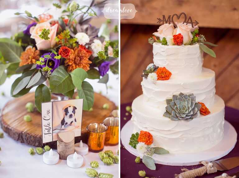 This wedding cake had succulents around it at the Bishop Farm.